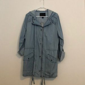 F21+ Hooded Chambray Utility Jacket NWT